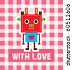 cute cow robot with love - stock vector