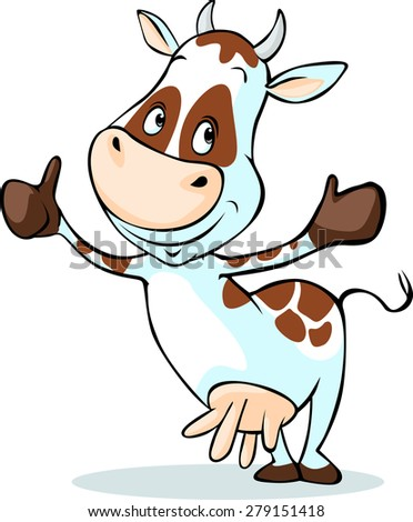 cute cow with thumb up - isolated on white background - stock vector