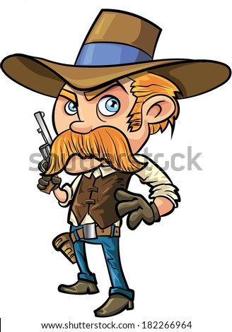Cute cowboy cartoon with mustache. Isolated - stock vector