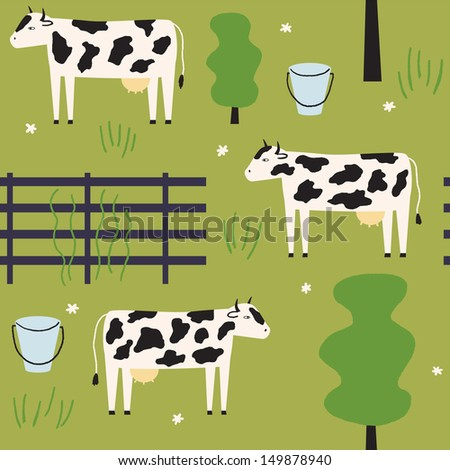 Cute cows give milk. Vector seamless pattern - stock vector