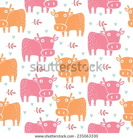 Cute Cows pattern - stock vector