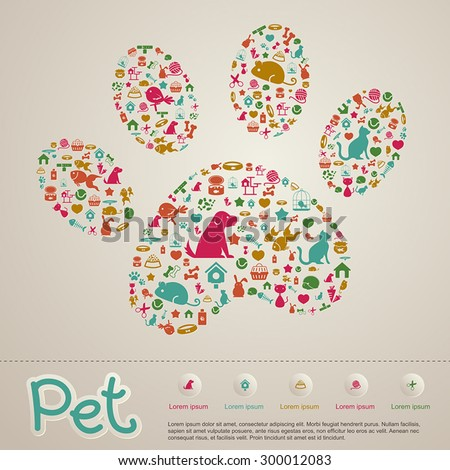 Cute creative animal and pet shop infographic icon brochure banner badge background template layout design for shopping advertisement or website usage, create by vector
