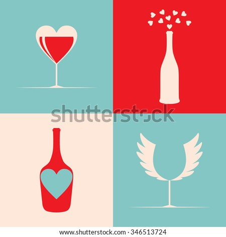 Cute creative logo for bar or restaurant with  wine glasses, bottle, wings, heart. Wine tasting design element. Badge or label for wine, winery or wine house. Wine background pattern in pop art style. - stock vector