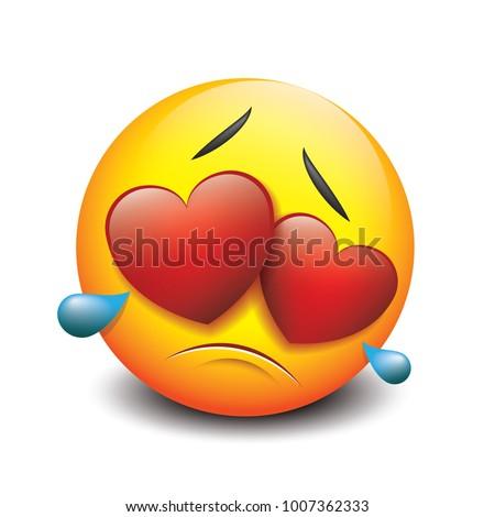 Cute Crying Sad Emoticon Love Emoji Stock Vector Royalty Free