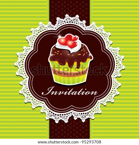 Cute cup cake design B - stock vector
