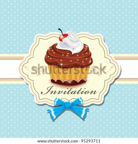Cute cup cake design D - stock vector