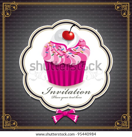 Cute cup cake design H - stock vector
