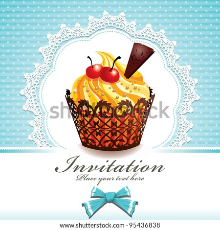 Cute cup cake G - stock vector
