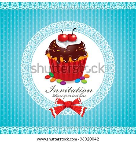 Cute cupcake design (T) - stock vector