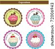 Cute Cupcake Stickers - stock vector
