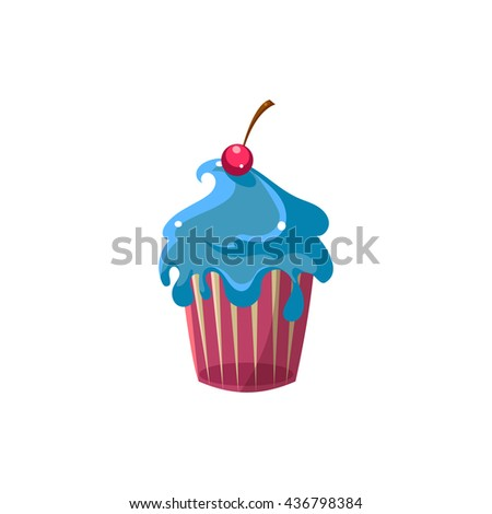 Cute Cupcake With Blue Icing Flat Vector Cute Girly Style Isolated Sticker On White Background - stock vector