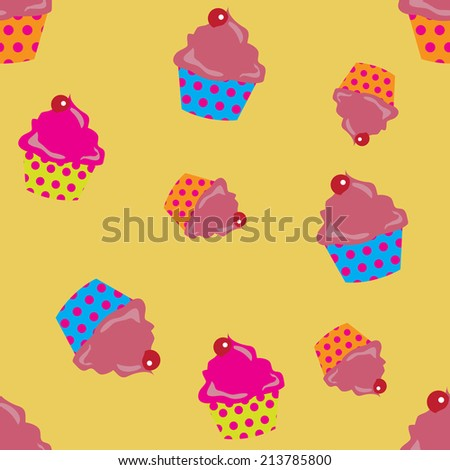 cute cupcakes seamless background. Eps10 vector format. - stock vector
