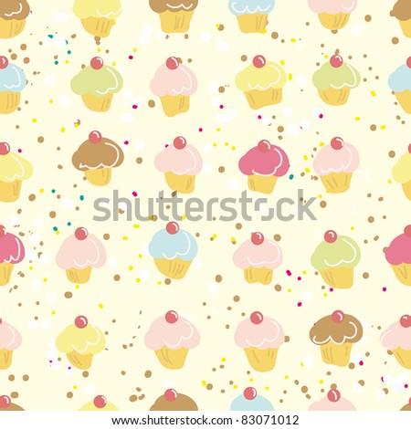 stock vector cute cupcakes seamless pattern in vector 83071012 - Каталог — Фотообои «Еда, фрукты, для кухни»