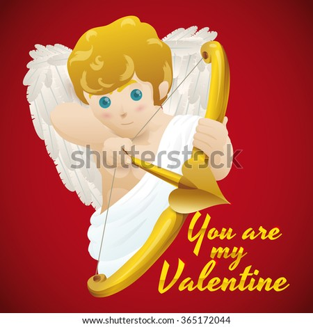 Cute Cupid shooting his magic golden arrow for Valentine's Day celebration.