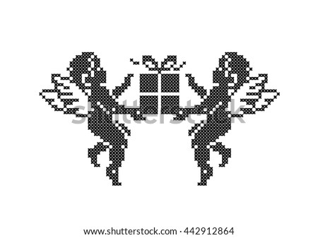 Cute Cupids with gift box. Cupid angels. Cross stitch. Scheme of knitting and embroidery. Vector. - stock vector