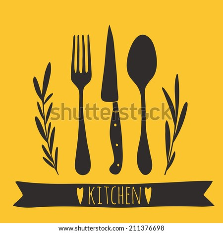 Cute cutlery. Hand drawn kitchen vector design. Doodle illustration   - stock vector
