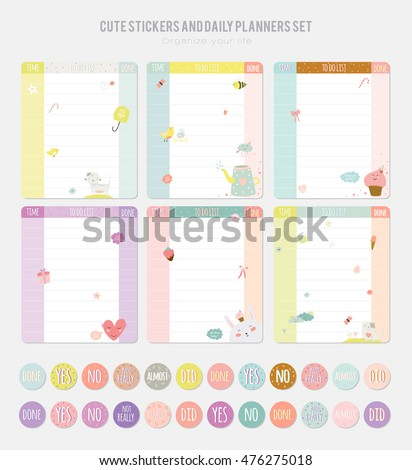Cute daily calendar template note paper stock vector 476275018 cute daily calendar template note paper and stickers set with vector funny animals illustrations pronofoot35fo Images
