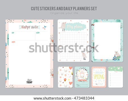 Cute Calendar Daily Weekly Planner Template Stock Vector 446684017 ...