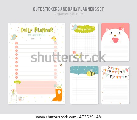 Cute Daily Calendar Do List Template Stock Vector 483152323