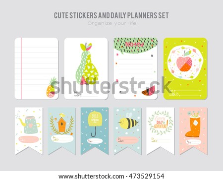 Cute Calendar Daily Weekly Planner Template Stock Vector 446683999