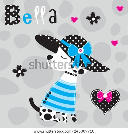cute dalmatian dog in a blue dresses and black hat vector illustration - stock vector