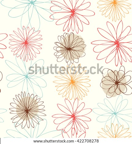 Cute decorative drawn background with round fantasy flowers - stock vector