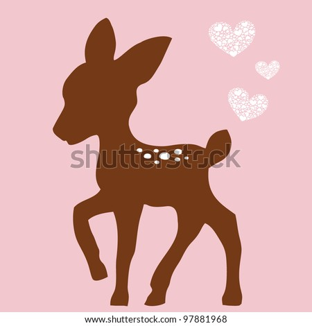 cute deer and white hearts - stock vector