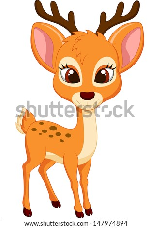 Cute deer cartoon - stock vector