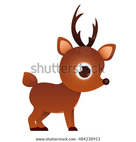Cute deer isolated on white background. Game Design. Vector illustration
