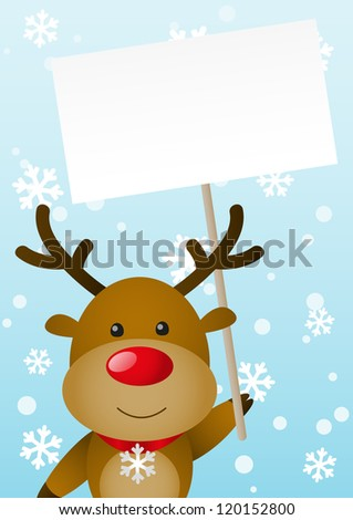 Cute deer with empty banner - stock vector