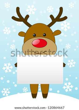 Cute deer with empty banner