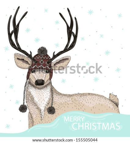 Cute deer with hat winter background - stock vector