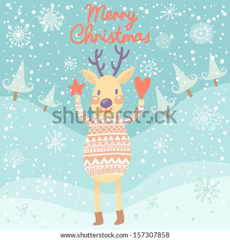 Cute deer with heart and star in winter forest. Childish Merry Christmas card in vector - stock vector
