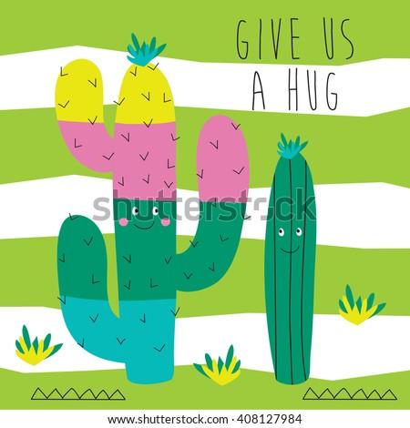 cute desert cacti cartoon vector illustration - stock vector
