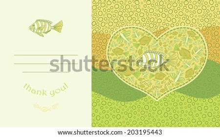 Cute design for greeting card with heart and fishes.