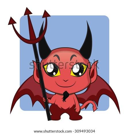 Cute devil Halloween monster mascot - stock vector