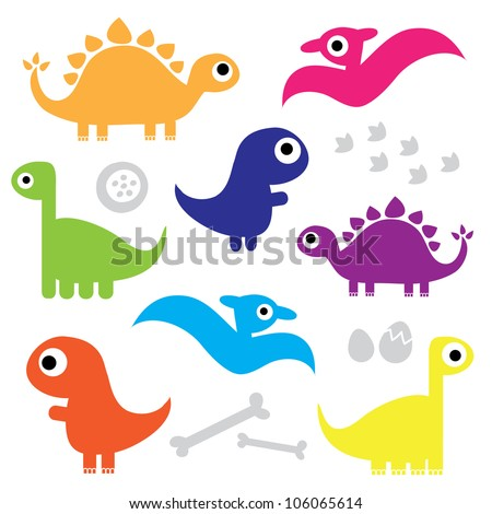 Cute Dinosaur Characters - stock vector