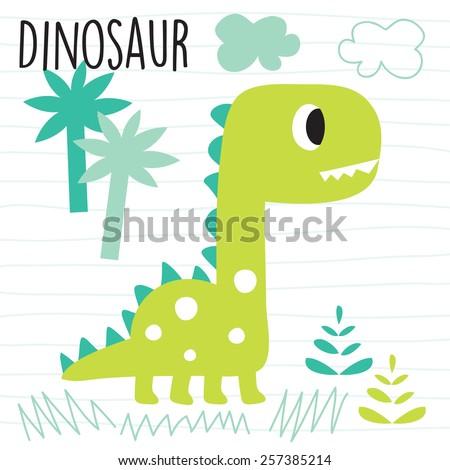 cute dinosaur in the jungle vector illustration - stock vector