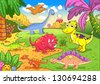 Cute dinosaurs in prehistoric scene EPS8 File - simple Gradients, no Effects, no mesh, no Transparencies. All in separate  group and layer for easy editing - stock photo