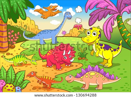 Cute dinosaurs in prehistoric scene EPS8 File - simple Gradients, no Effects, no mesh, no Transparencies. All in separate  group and layer for easy editing - stock vector