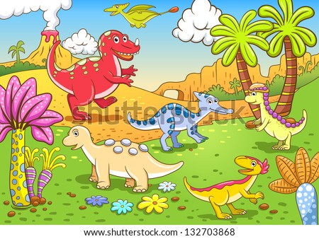 Cute dinosaurs in prehistoric scene EPS10 File - simple Gradients, no Effects, no mesh, no Transparencies. All in separate  group and layer for easy editing - stock vector