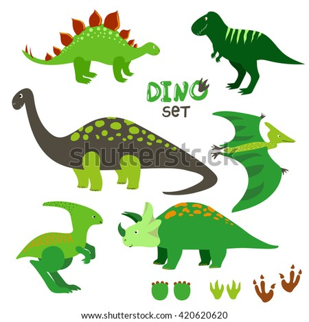 Cute dinosaurs set. Collection of cartoon dinosaurs and prints. Vector illustration.