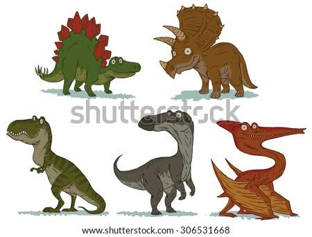 Cute dinosaurs set, vector - stock vector