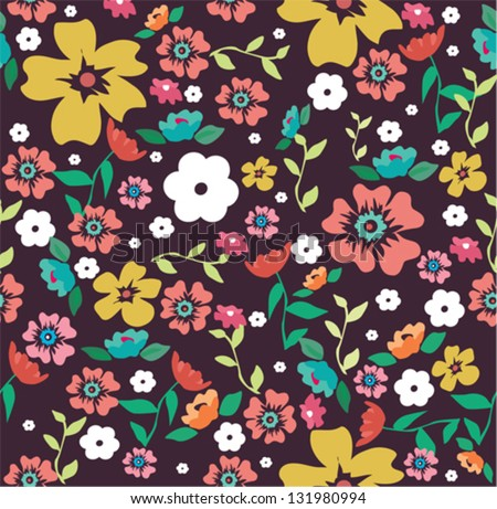 cute ditsy floral seamless background - stock vector