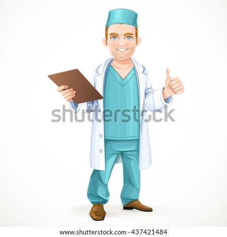 Cute doctor in surgical suit holding a history and showing gesture that everything will be okay isolated on white background - stock vector