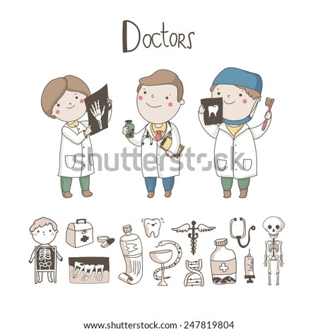 Cute Doctor, X-ray inspector, Dentist and medical equipment and symbols around them isolated on white background. Medicine vector set. - stock vector