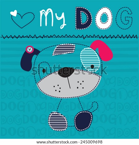 cute dog boy vector illustration - stock vector