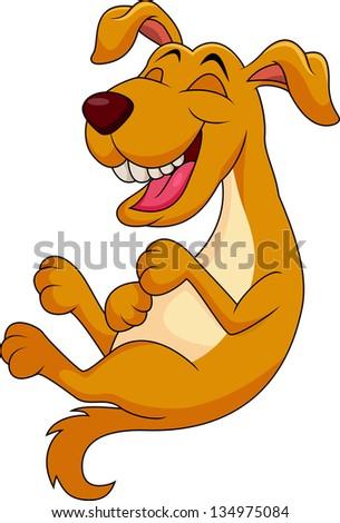 Cute dog cartoon laughing - stock vector
