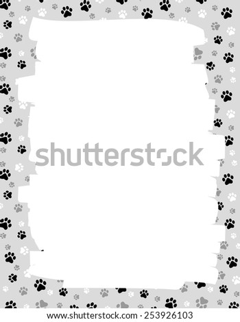 Cute dog / cat paw prints border / frame with empty white space on center