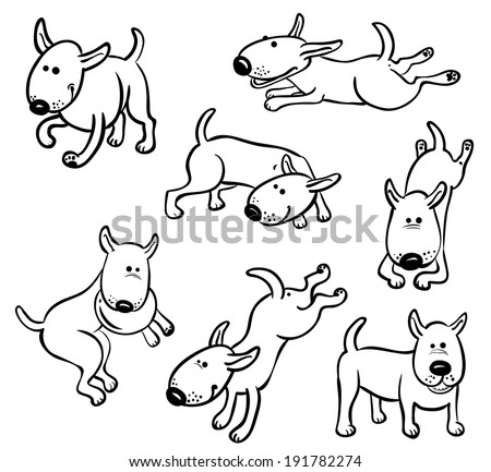 Cute dog characters set - stock vector